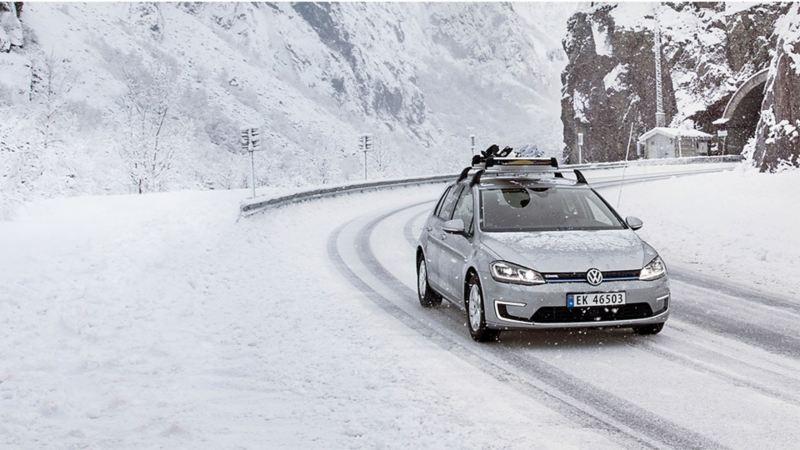 Volkswagen e-Golf på vinterføre i Norge