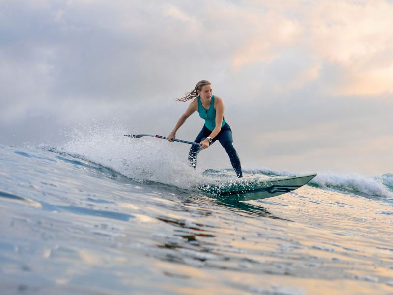 Stand-up paddling professional Paulina Herpel rides the wave on the coast of Biarritz.