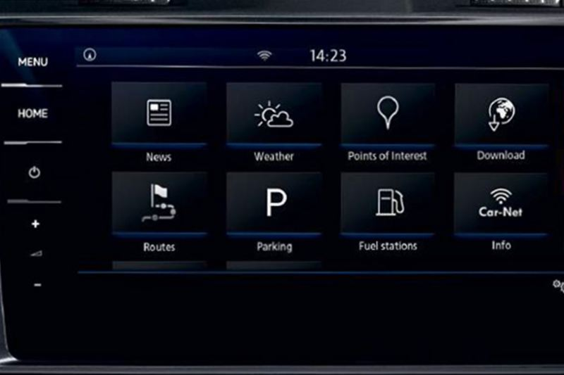 In built app-connect, shown inside a Volkswagen e-Golf.