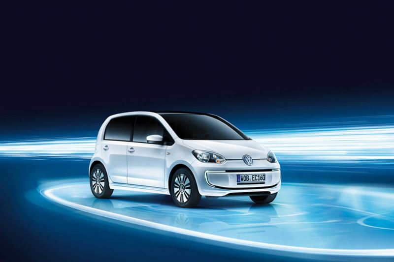 3/4 front view of a white Volkswagen e-up!.