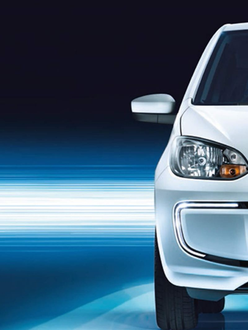 Close up of the front of a white Volkswagen e-up!