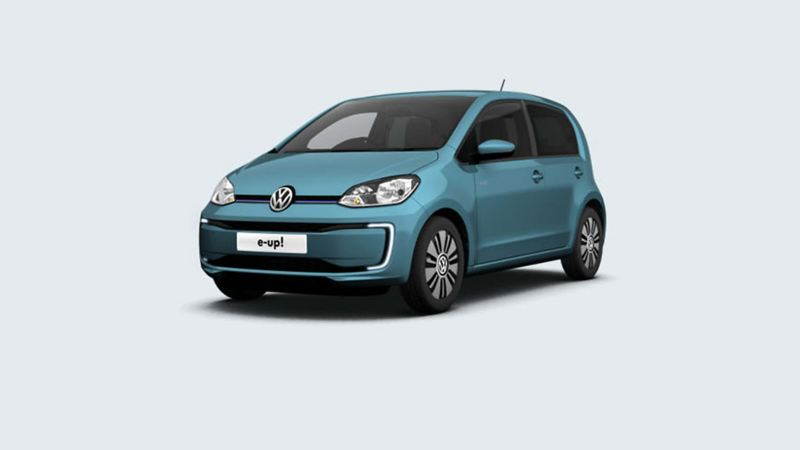 3/4 front view of a green Volkswagen e-up!.