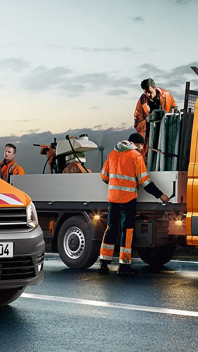 Wegwerkzaamheden Caddy oranje Transporter Oranje