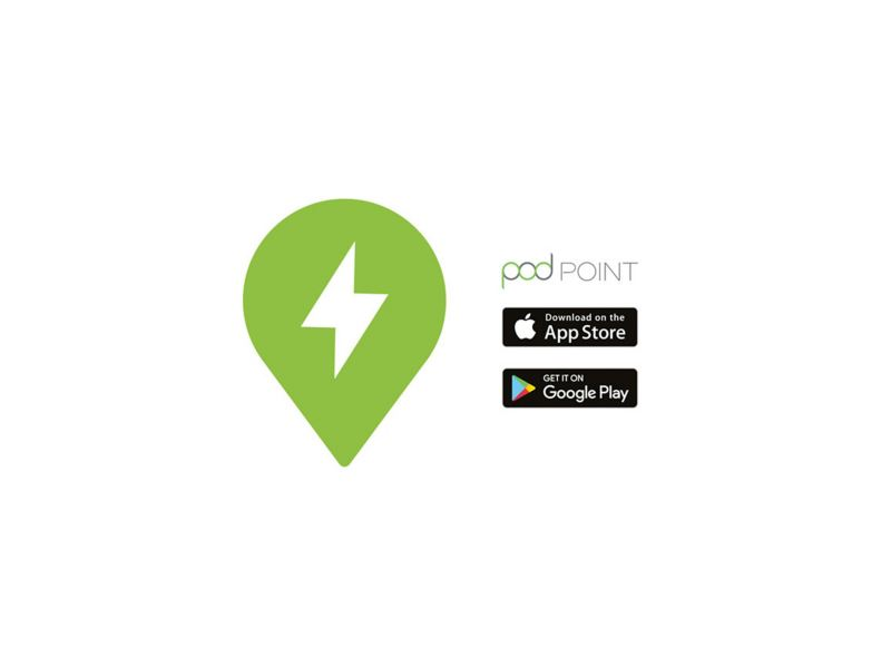 Pod Point logo alongside App Store and Google Play logo