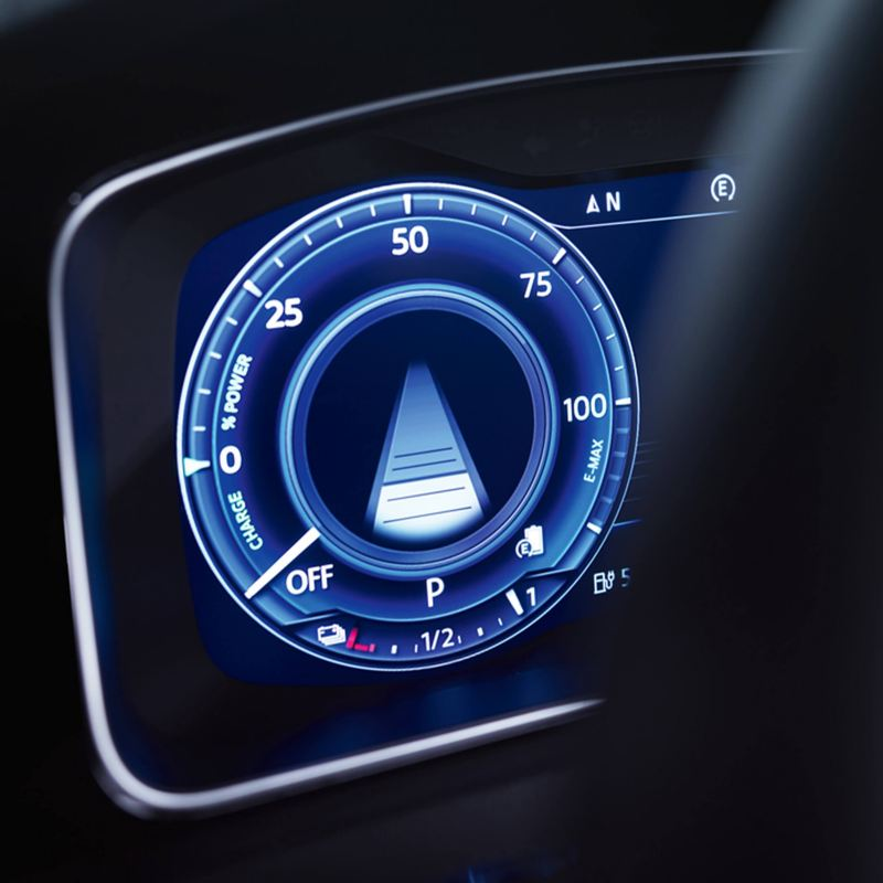 Dashboard close-up of the speed gage of a Volkswagen e-vehicle.
