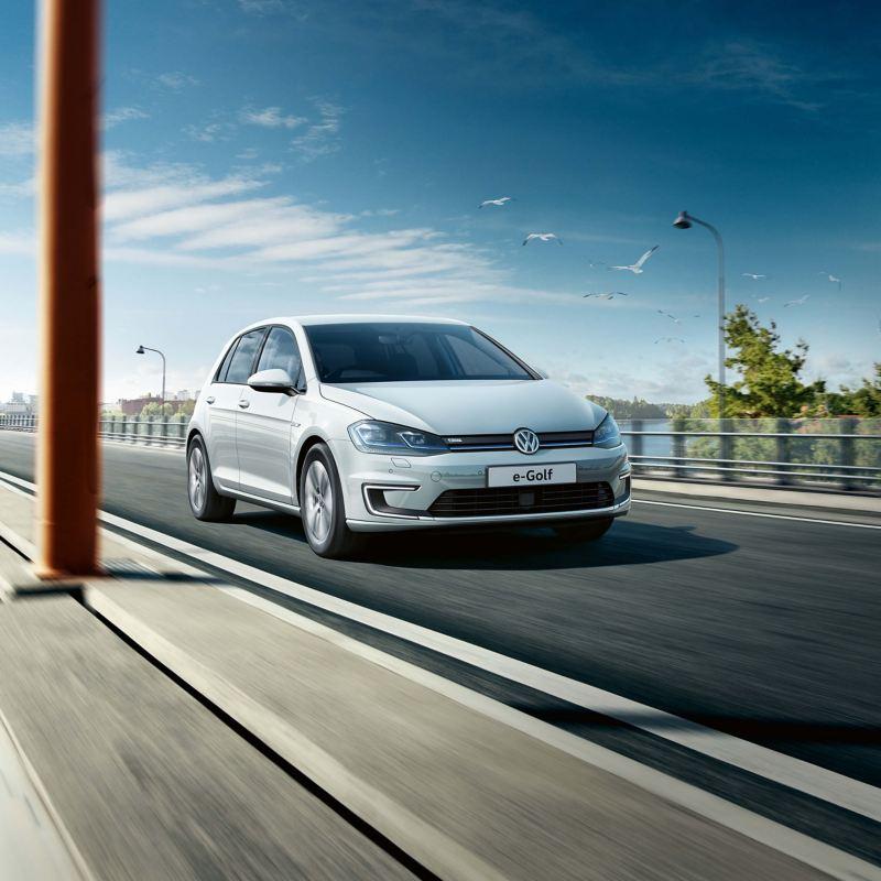 Volkswagen e-Golf driving on road