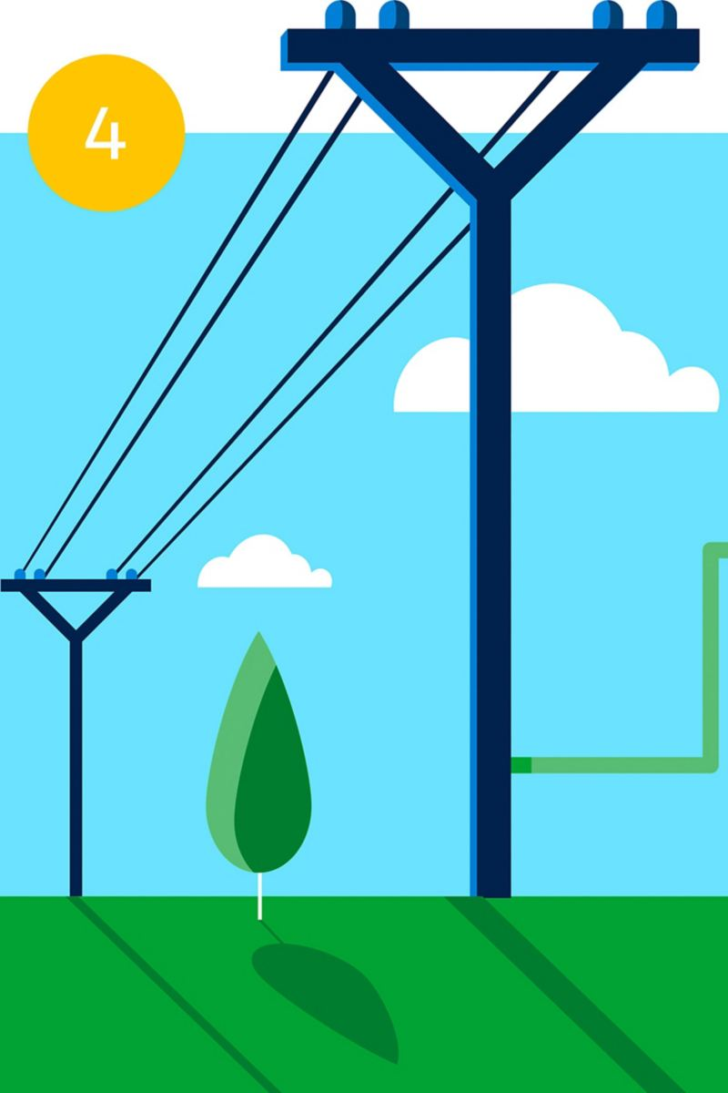 Illustration of public power grids with power lines running through the countryside