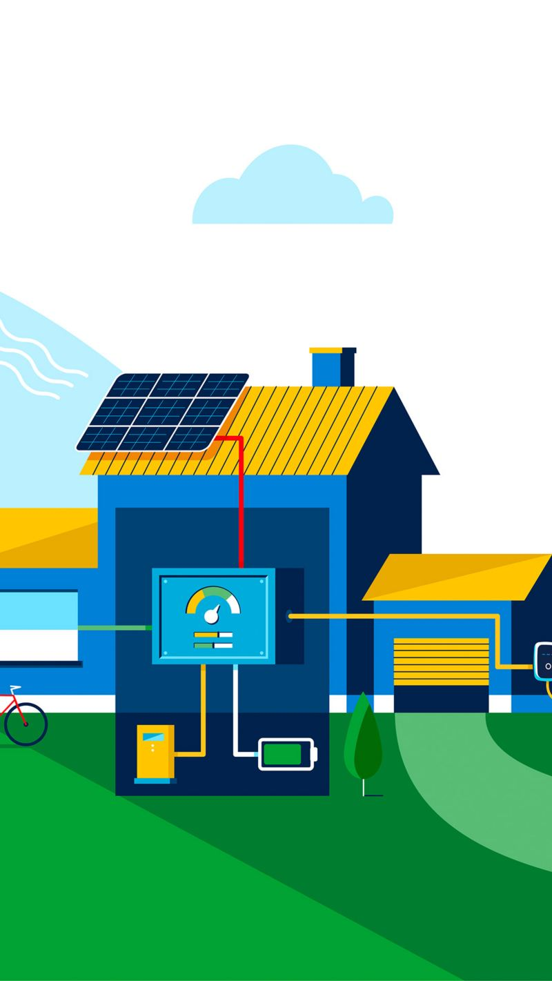 Illustration of Electric mobility and smart energy management systems