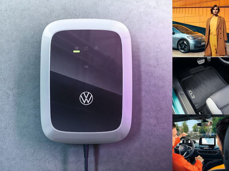 Mashup of Volkswagen ID.3 images: A car key, car interior and exterior shots with people in them