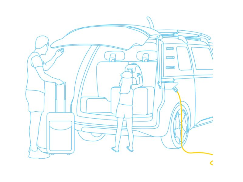 Illustration of a couple loading their Volkswagen ID. Buzz, whilst it's charging.