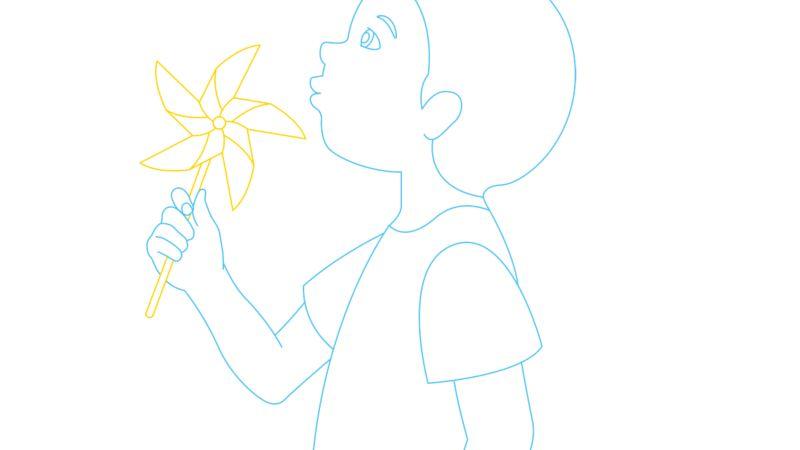 Illustration of a young boy playing with a wind wheel.