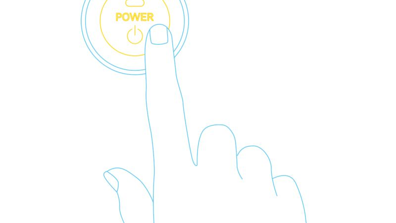 Illustration of a finger pressing a power on/off button.