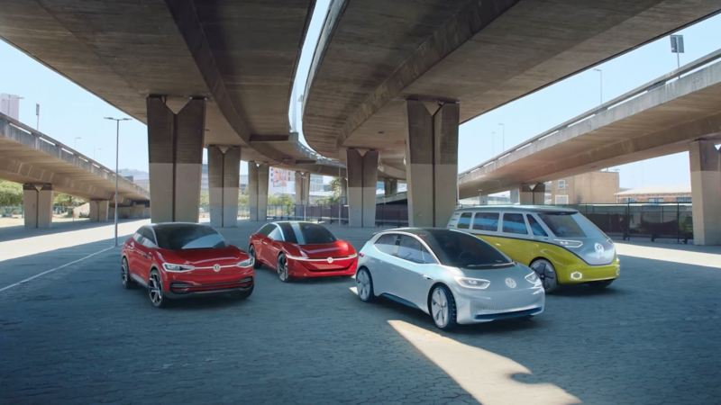 The Volkswagen electric range parked beneath an underpass