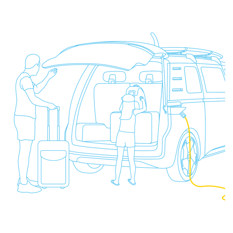 Illustration of a man and young girl loading their Volkswagen ID. Buzz, whilst it's charging.