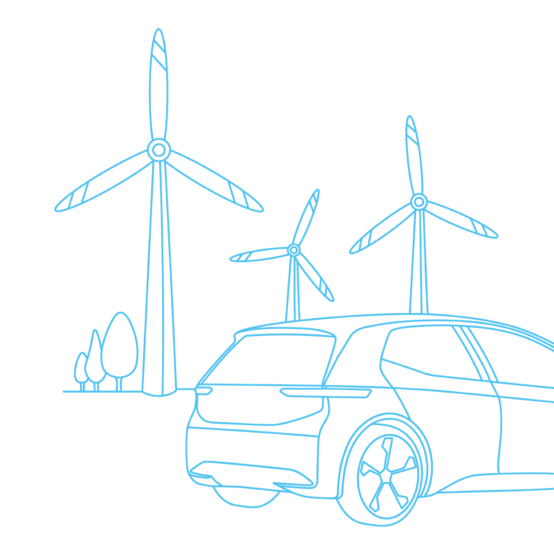 Illustration of a Volkswagen electric vehicle and wind turbines.