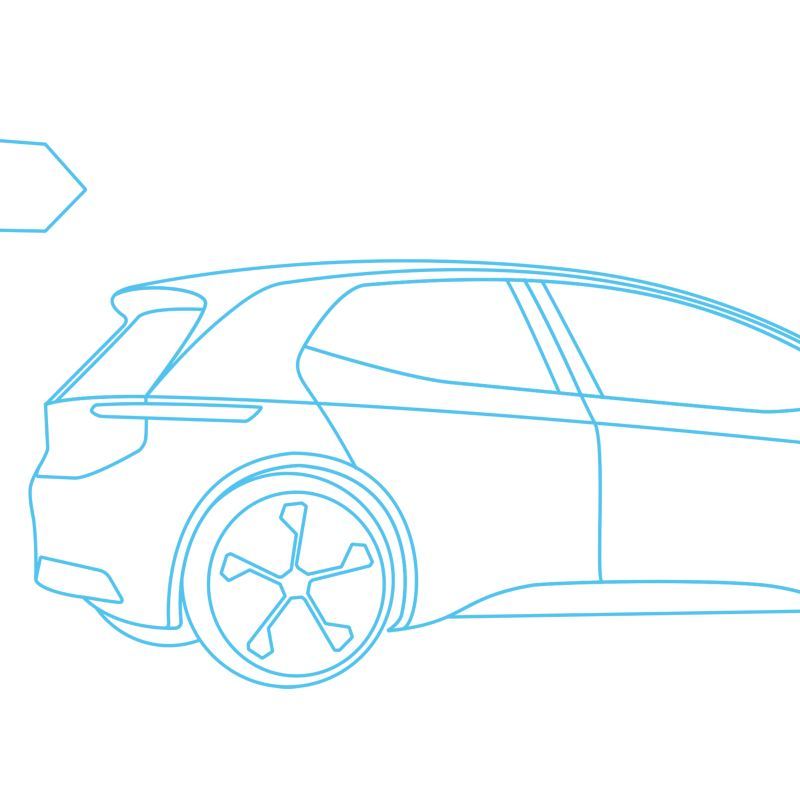 Illustration of a Volkswagen electric vehicle.