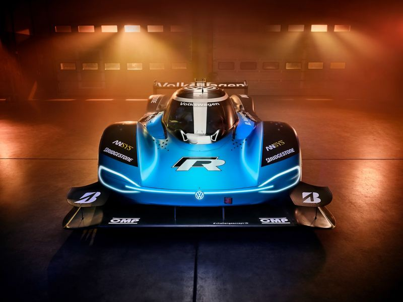 Front view of a blue Volkswagen ID.R.