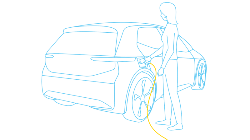 Illustration of an electric car being charged
