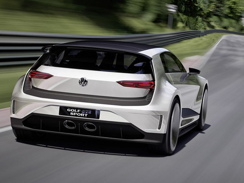 The Volkswagen Golf GTE Sport, on a race track.