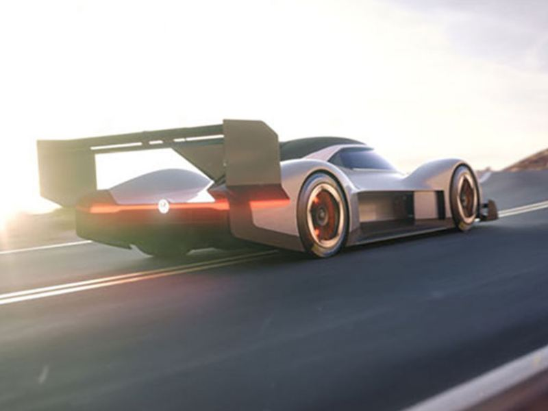The Volkswagen ID.R Pikes Peak, on an open road.