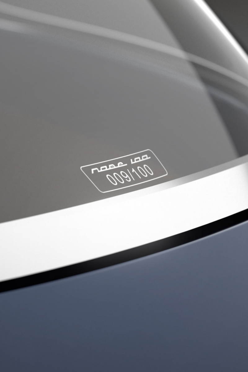 """The """"Nobe 100"""" electric vehicle's rear window"""