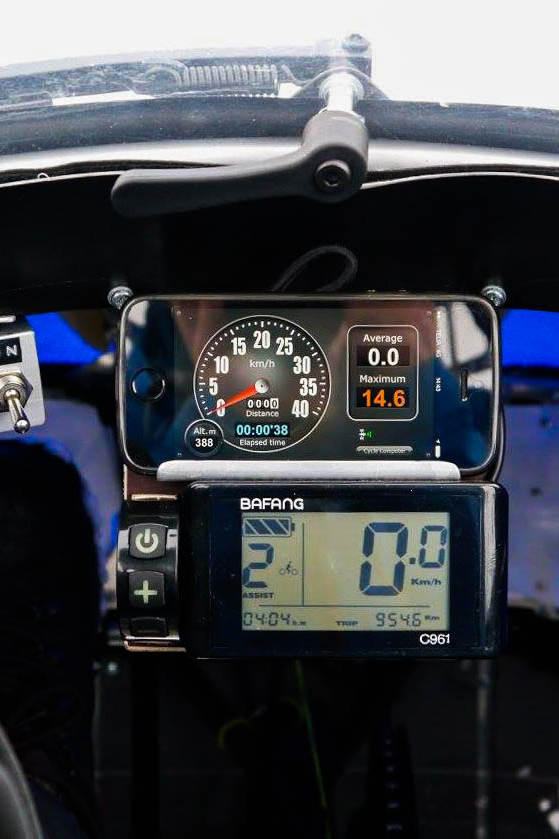 """The cockpit of the """"PodRide"""" electric vehicle"""