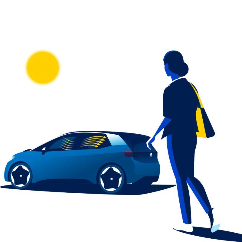A woman walks towards the Volkswagen ID.3