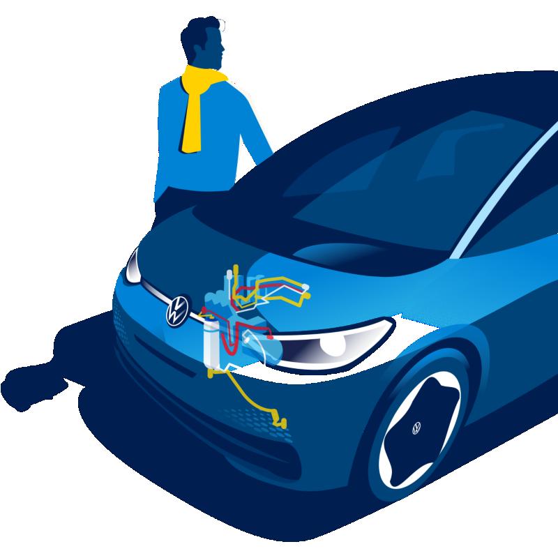 Volkswagen ID.3 with illustrated heat pump