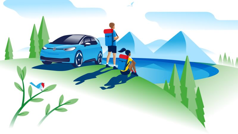 Family with their Volkswagen ID.3 in nature