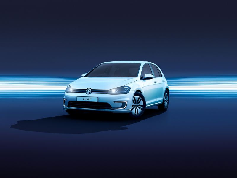 A white Volkswagen e-Golf.