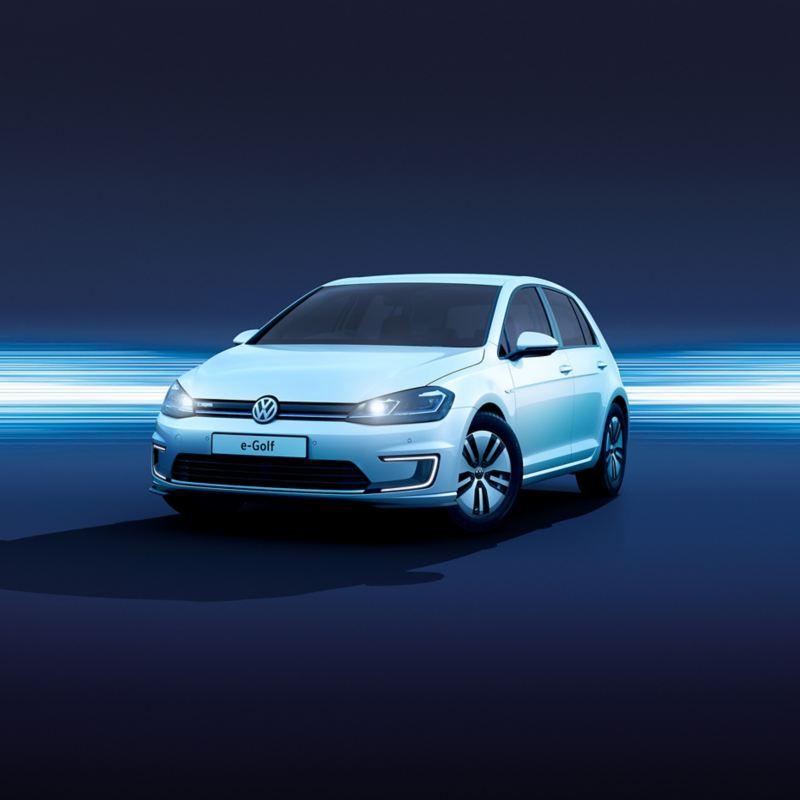 A white Volkswagen e-Golf.