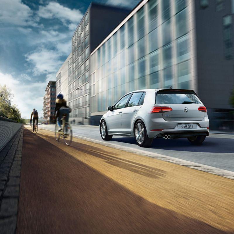 Volkswagen car driving in street