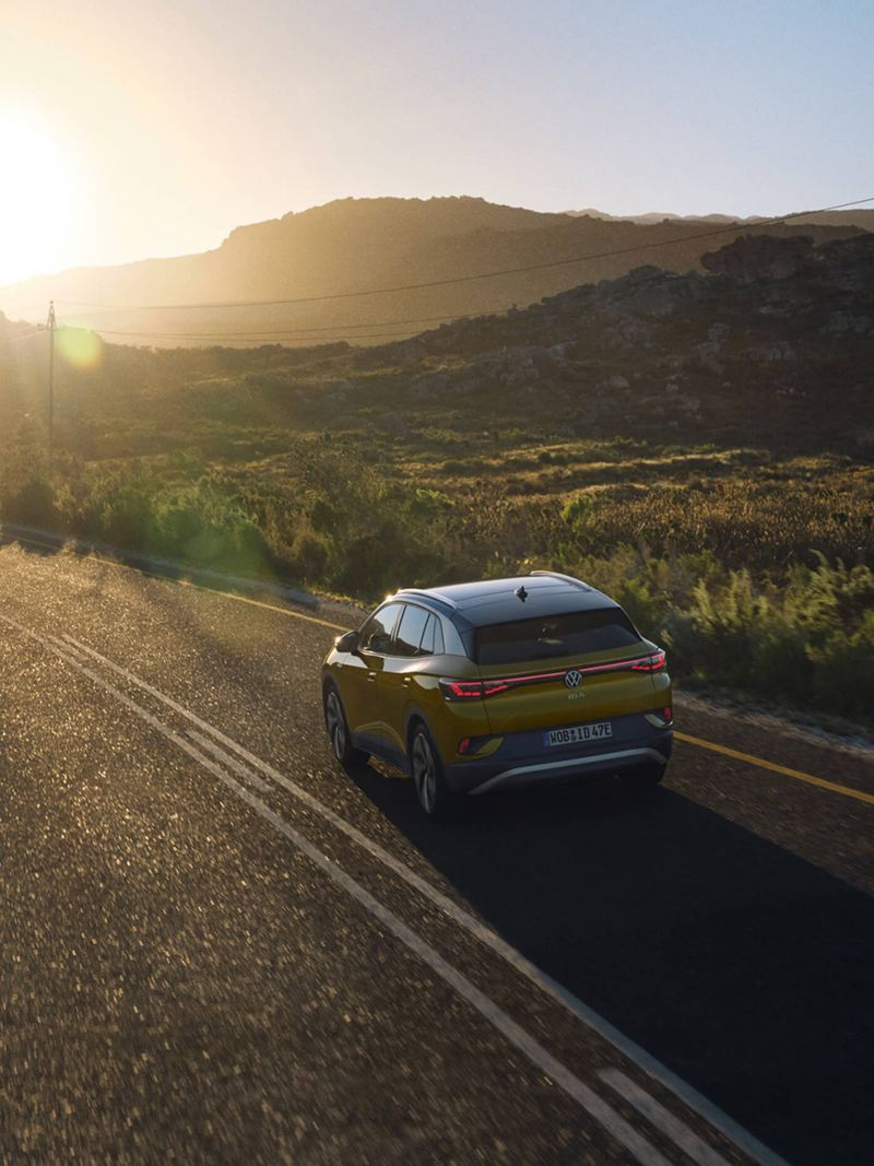 The Volkswagen ID.4 driving into the sunset