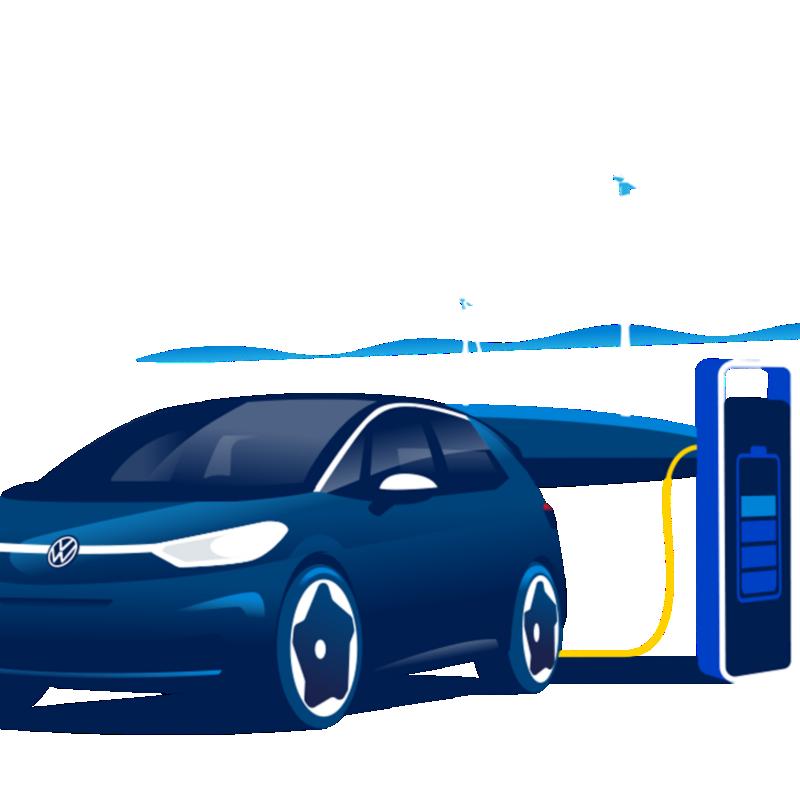 Ilustracja ID.3 jest ładowany zieloną energią