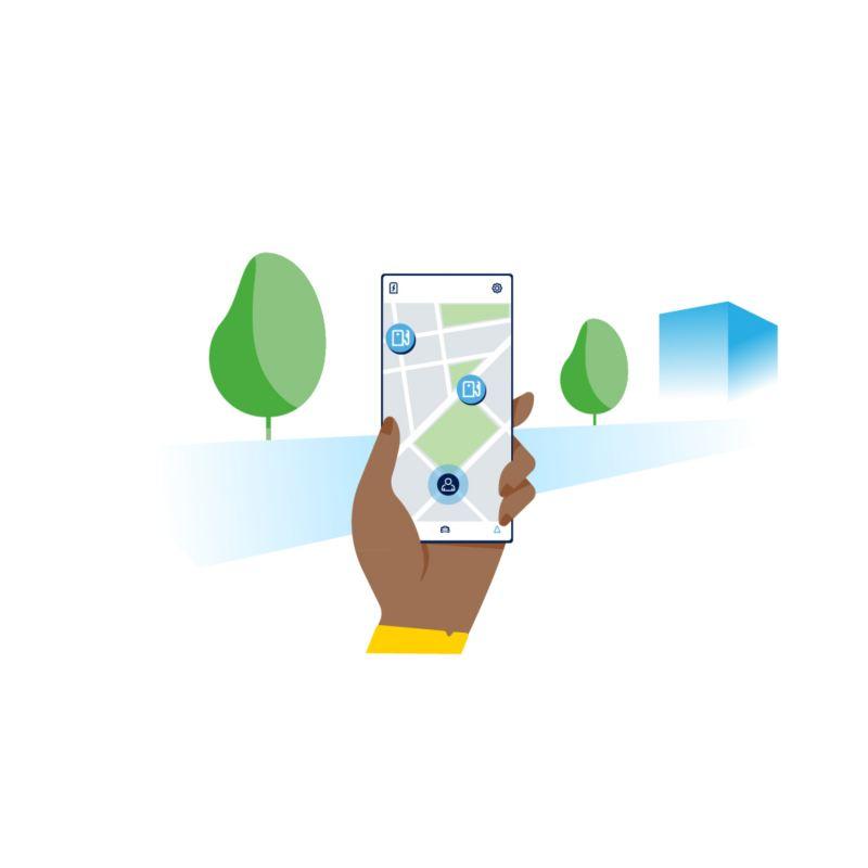 Ilustracja ładowanie z użyciem smartfona i We Charge