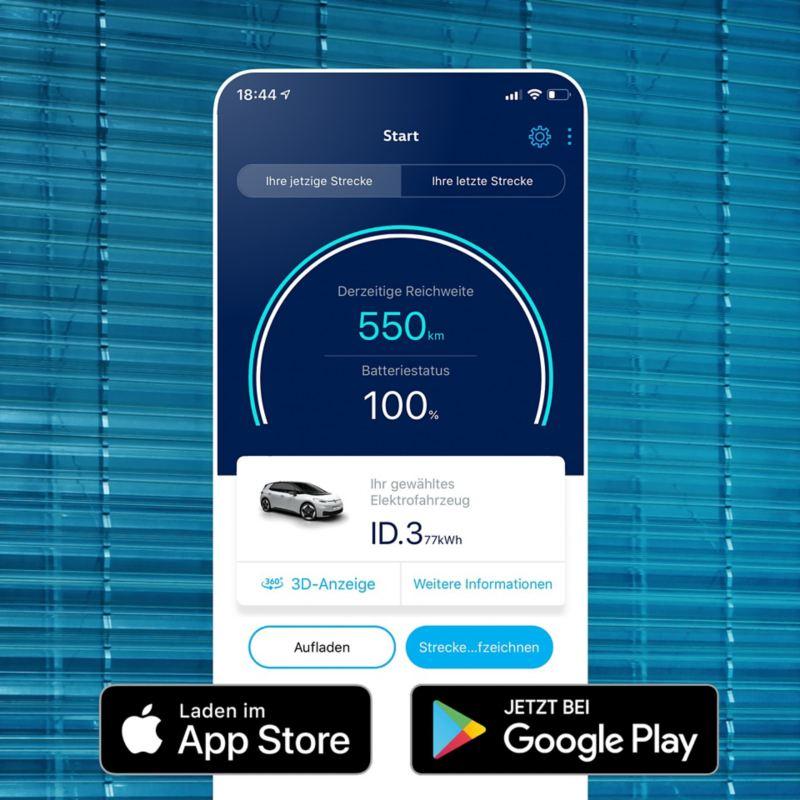 Screen eines Smartphones mit geöffneter EV Check App