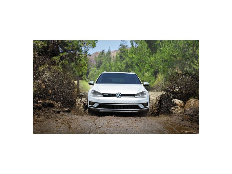 Golf Alltrack on a muddy road