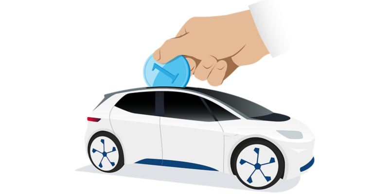 Money is being put into an electric car like into a piggy bank