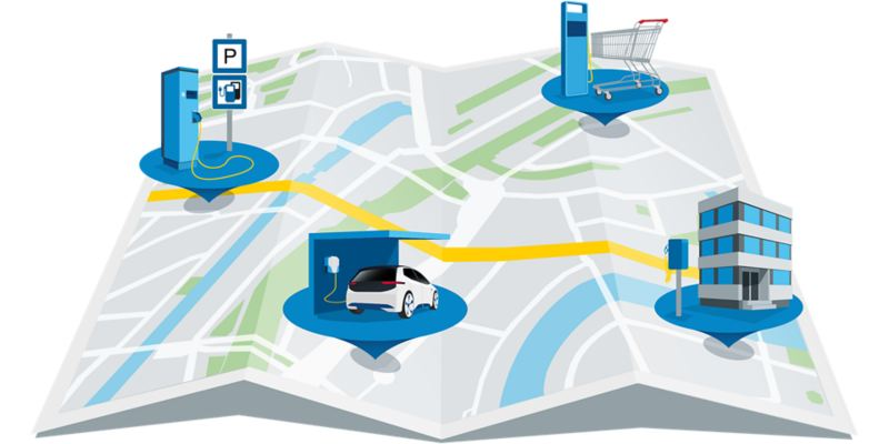 Illustrated map with charging stations in different places