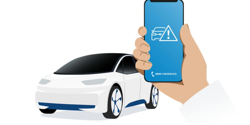 Illustration of a smartphone, that displays the logo of the breakdown services that are being called at this moment