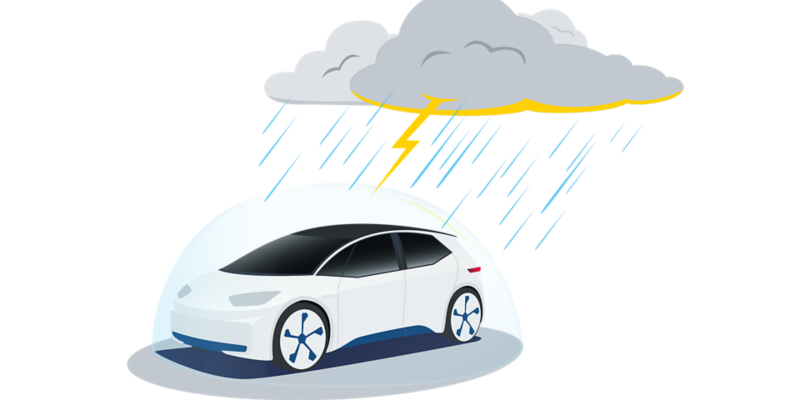 Electric car under a protective shield during a thunder storm