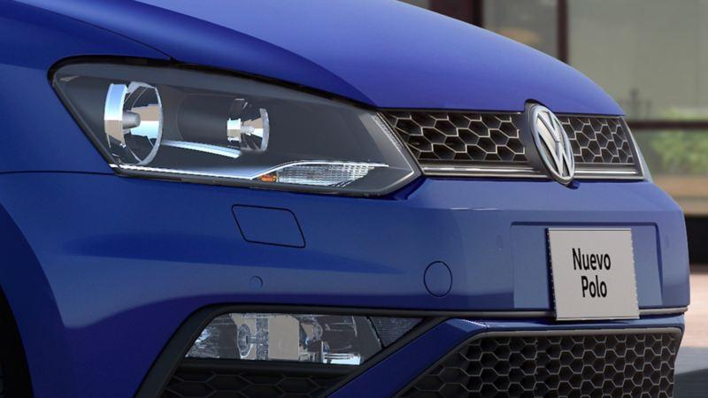 Faro en el frente en nuevo diseño de Polo 2020 de Volkswagen