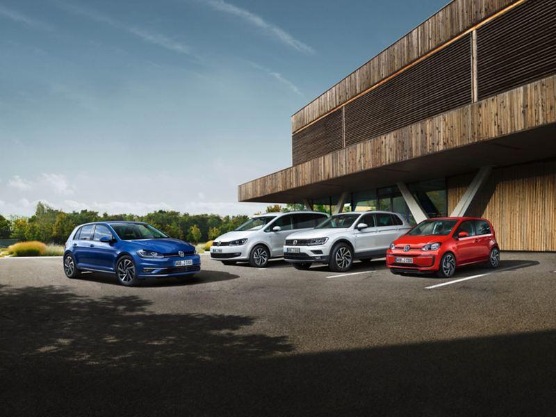 Volkswagen range in a car park.