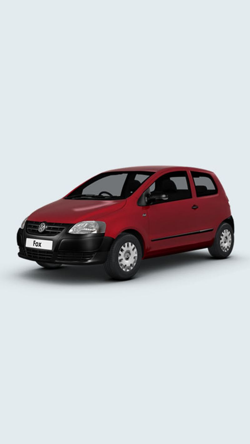 3/4 front view of a red Volkswagen Fox.