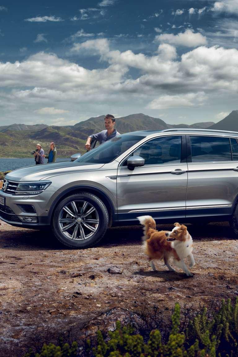 suv volkswagen garé en pleine nature, chien et famille autour