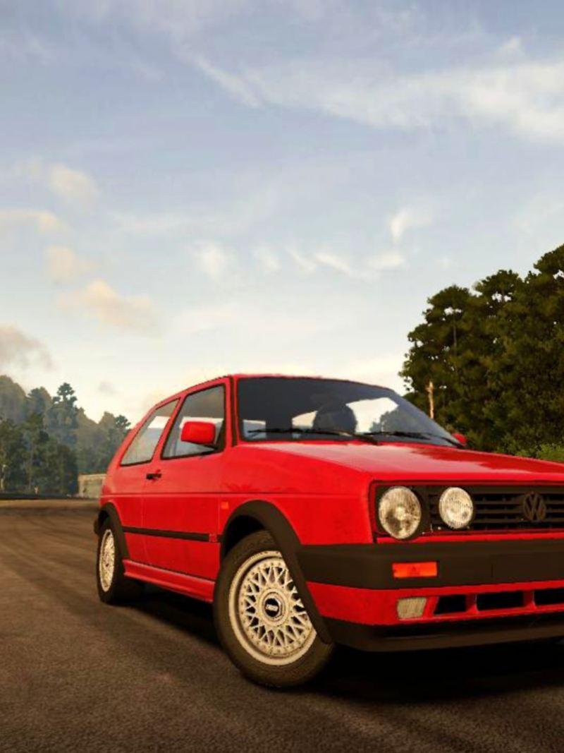Golf MK2, auto clásico deportivo de Volkswagen sobre autopista