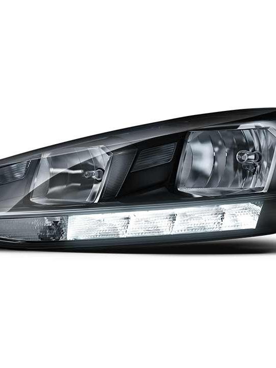 Volkswagen Golf DRL headlight cutout, transparent background.