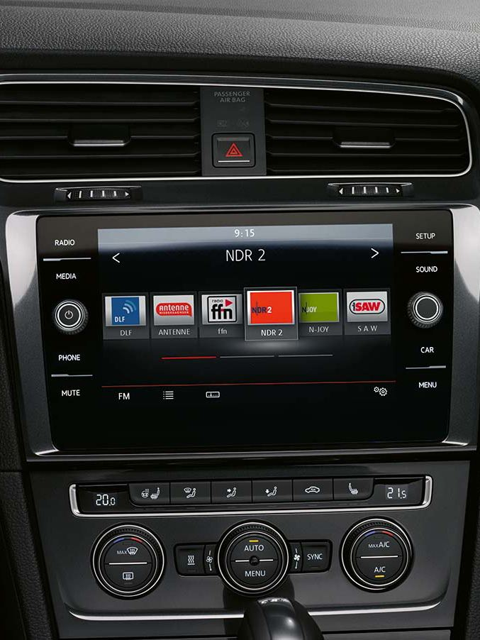 The Volkswagen Golf's infotainment system