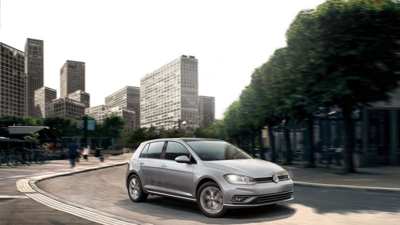 A 2020 Volkswagen Golf in the city