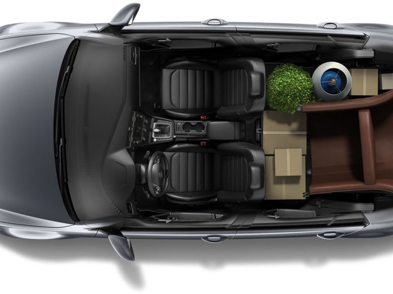 Bring for folding seats down and you can pack a lot of things in the Golf